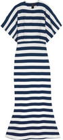 Norma Kamali Obie Striped Stretch-cotton Jersey Maxi Dress - Navy