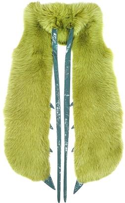 Praying Mantis Green Fox Fur Stole