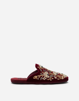 Dolce & Gabbana Velvet Slippers With Floral Embroidery