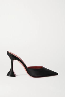 Amina Muaddi Fiona Chain-embellished Satin Mules - Black