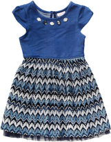 Youngland Young Land Short-Sleeve Denim Lace-Knit Dress - Toddler Girls 2t-4t