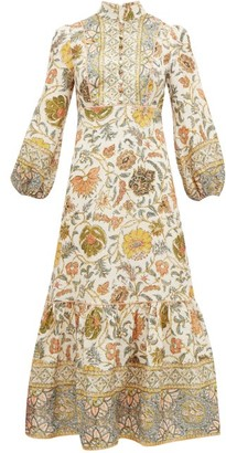 Zimmermann Edie Balloon-sleeve Floral-print Linen Dress - Womens - Green Print