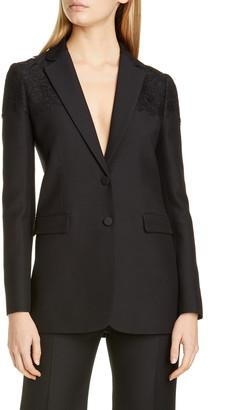 Valentino Lace Shoulder Wool & Silk Blazer