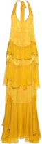 Roberto Cavalli Tiered Chiffon Long Dress