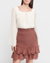 Express High Waisted Smocked Tiered Eyelet Lace Mini Skirt