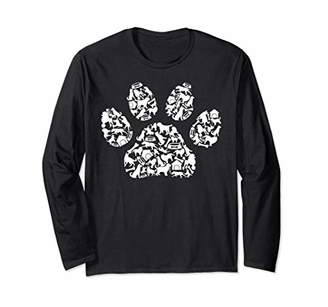 Dog Paw Print of dogs, dog bone, and dog house - Dog Long Sleeve T-Shirt