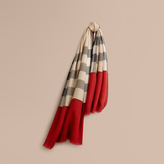 Burberry Contrast Border Horseferry Check Cashmere Scarf