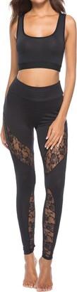 jieGorge Pants Women's New Lace Stitching Leggings Casual Sports Yoga Pants Pencil Pants
