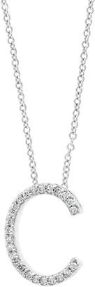 Effy 14K White Gold & Diamond Initial Pendant Necklace