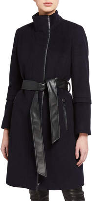 Via Spiga Stand Collar Faux-Leather Belted Wool-Blend Coat