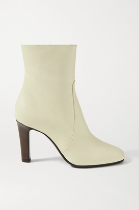 Saint Laurent Blu Leather Ankle Boots - Off-white