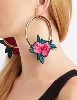 Charlotte Russe Floral Patch Hoop Earrings