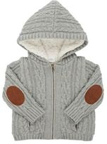 Egg Baby Sherpa-Lined Cable-Knit Cotton Hooded Cardigan-GREY