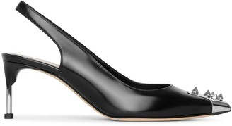 Alexander McQueen Slingback pin heel black leather pumps