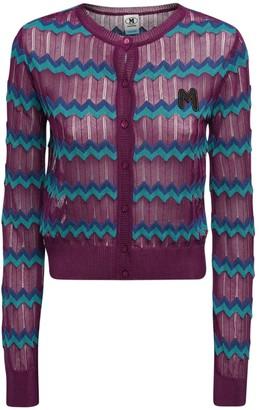 M Missoni Zig Zag Knit Cotton Blend Crop Cardigan