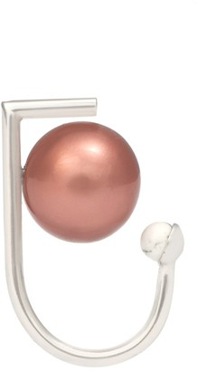 LeiVanKash Yan White Rhodium Plated Brass-Faux Mocha Coral and Pink Pearl Ring - Size H