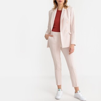 La Redoute Collections Longline Double-Breasted Blazer with Patch Pockets