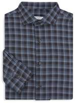Boglioli Tonal Wool Plaid Button-Down Shirt