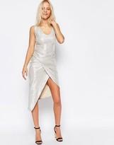 Liquorish Asymmetric Twisted Maxi Dress in Metallic Fabric