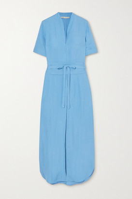 USISI SISTER Tosca Belted Linen-blend Midi Dress - Blue