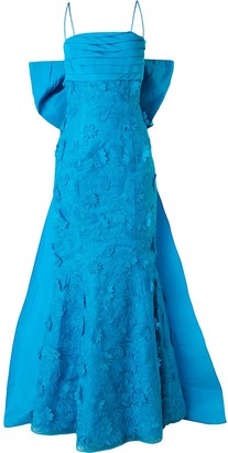 Bambah fish tail floral embroidered evening dress