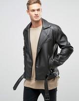 Asos Belted Faux Leather Biker Jacket In Black