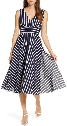 Brinker & Eliza Stripe Sleeveless Fit & Flare Dress
