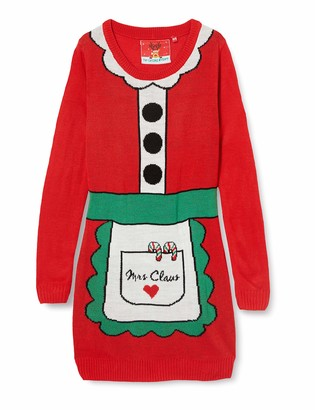 Benetton The Christmas Workshop Women's Mrs Santa Claus Long Sleeve Knitted Dress
