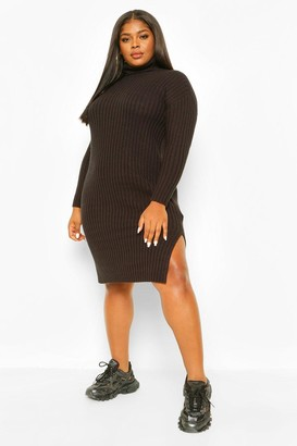 boohoo Plus Chunky Roll Neck Midaxi Sweater Dress