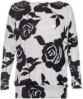 Quiz Grey Rose Print Light Knit Top