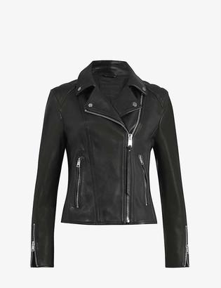 AllSaints Neve quilted-shoulder leather biker jacket