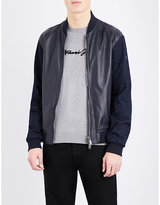 Armani Jeans Denim-sleeve Leather Bomber Jacket
