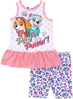 Children's Apparel Network PAW Patrol White Ruffle Tank & Shorts - Infant & Toddler