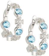 Elizabeth Showers Maltese Cross Blue Topaz & Sapphire Hoop Earrings