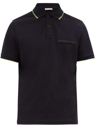 Moncler Logo-plaque Cotton-pique Polo Shirt - Mens - Navy