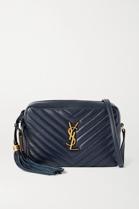 Saint Laurent Lou Quilted Leather Shoulder Bag - Navy