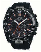 Lorus Gents Black Silicone Strap Chronograph Rt327ex9