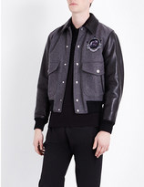 Givenchy Monkey-appliqué wool-blend and leather bomber jacket