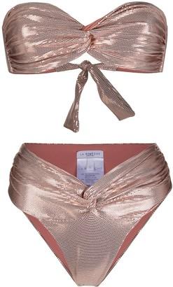 La Reveche Metallic Twist Knit Bikini Set