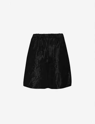 Black Comme Des Garcon Crinkled high-rise wool-blend shorts
