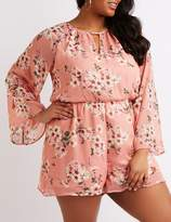 Charlotte Russe Plus Size Floral Keyhole Bell Sleeve Romper
