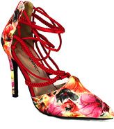 C Label Red Floral Lace-Up Liberty Pump