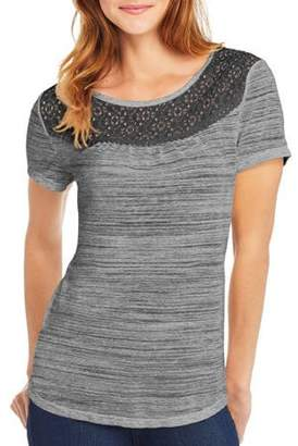 Hanes Women's Short-Sleeve Peasant Tee with Lace