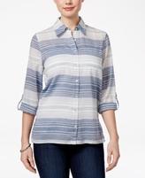 Alfred Dunner Petite Indigo Girls Cotton Striped Shirt