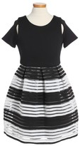 Blush by Us Angels Girl's Elastic Stripe Dress