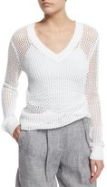 Michael Kors Long-Sleeve V-Neck Linen Mesh Sweater, White