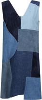 MiH Jeans Marten patchwork denim and suede mini dress