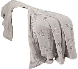 Boon Throw & Blanket Sequin Embroidered Throws, Silver Grey