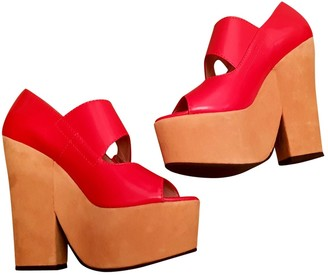Carven Red Leather Sandals