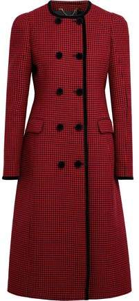 Altuzarra Double-Breasted Velvet-Trimmed Houndstooth Virgin Wool Coat